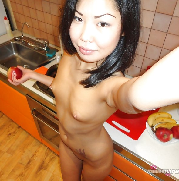 Pierced nipples on this slim Chinese dream girl