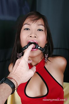 Thai girl has mouth forced open for blowjobs