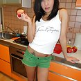 Ultra skinny Chinese dream girl Miranda naked at home - image 2